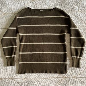 FREE W/ PURCHASE🍑 Garage Olive Striped Sweater